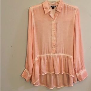 ANA spring long sleeve blouse, ruffle bottom